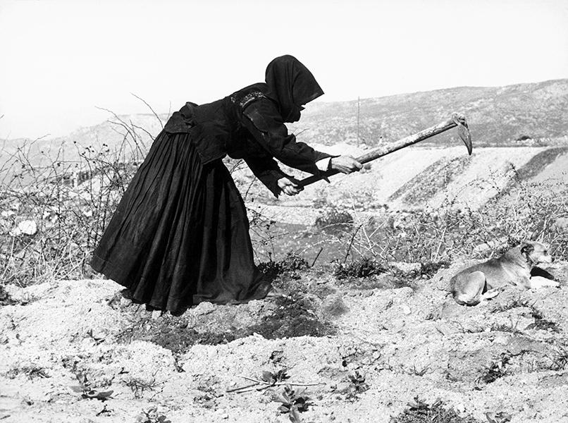 Orgosolo. Woman working in a field, 1960